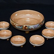 REDUCED Limoges & Germany 7 Piece Lustreware Salt Set With Ball Feet