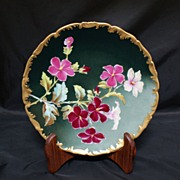 SALE T&V Limoges Factory Painted Floral Plate Artist Signed
