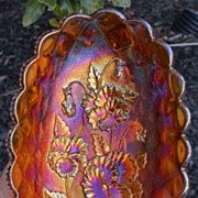 Original Imperial Electric Amber Pansy Carnival Glass Pickle Dish