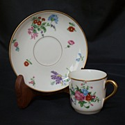SALE T & V Limoges Factory Decorated Floral Demitasse Cup & Saucer - 1907