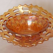Fenton Open Edge 2 Row JIP Marigold Carnival Glass Basket