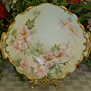 SALE T & V Limoges Hand Painted Azaleas Plate - Factory Decorated - Artist Signed - 1907
