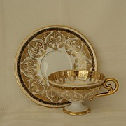 SALE Limoges Footed Cup & Saucer Heavy Gold