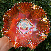 "Imperial Pumpkin Marigold ""Shell"" Carnival Glass Bowl"