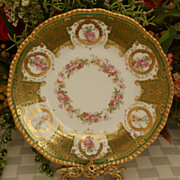 SALE Limoges Floral Plate Heavy Gold Circa 1900