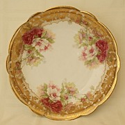"SALE Limoges 10 1/4"" Floral Bowl Heavy Gold Early 1900's"