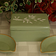 SALE Lenox Sage Green Cigarette Box & Ashtrays - Older Green Mark