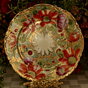 Unmarked Nippon Floral Plate Heavy Gold