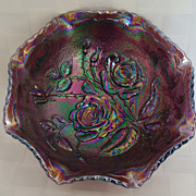 Contemporary Open Rose Electric Purple Carnival Glass Bowl