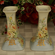 "SALE Monogrammed ""M"" Limoges Roses Candle Sticks"