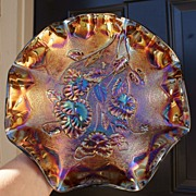 "SALE Imperial Amethyst ""Pansy"" Carnival Glass Bowl"