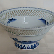 Signed Vintage Chinese Blue & White Reticulated Footed Bowl