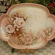 "SALE Limoges 15 7/8"" Hand Painted Roses Tray Artist Signed 1891+"