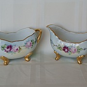 Limoges & Bavaria Hand Painted Roses Creamer & Sugar 1907 - 1919