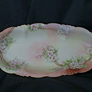 "SALE Limoges Hand Pained 13"" Oval Floral Bowl Artist Signed"