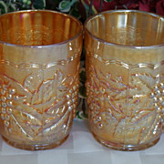 4 Old Imperial Grape Ribbed Interior Marigold Carnival Glass Tumblers