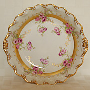 "Limoges 10 1/2"" Roses & Gold Centerpiece Bowl"