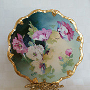 "Limoges Artist Signed 8 5/8"" Factory Hand Painted Floral Plate"
