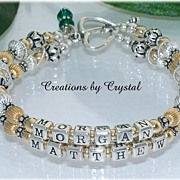 Custom Made Personalized Bali Style Mothers Mom Grandma Name Bracelet Sterling & Gold-Fill