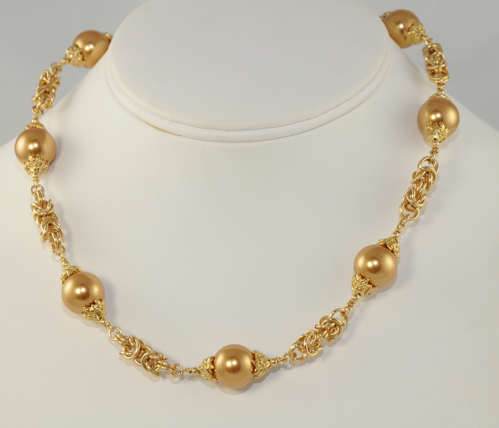 Swarovski Crystal Pearls and Byzantine Chain