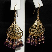 Swarovski Amethyst Crystal Chandelier Dangling Ear Ring