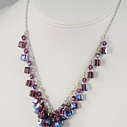 Amethyst Swarovski Crystal Multidrop Necklace