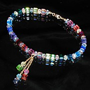 Custom Swarovski Crystal Anklet (Choice of Colors) With Dangles