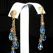 Turquoise Aquamarine Swarovski Crystal Etruscan Dangle Ear Rings