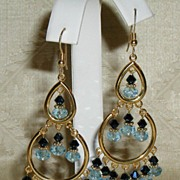 Swarovski Aquamarine Crystal Chandelier Dangling Ear Ring