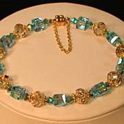 Turquoise & Gold Swarovski Crystal Bracelet with Magnetized Clasp and Safety Chain