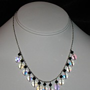 Swarovski Clear Aurora Borealis & Jet Black Crystal Disco Ball Drop Necklace