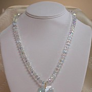 Swarovski Clear Aurora Borealis Necklace with (Optional) Heart Pendant