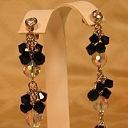 Bezel Set Diamond CZ with Swarovski Clear Aurora Borealis & Jet Black Three Tiered Earring