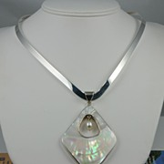 Contemporary Ring Collar Necklace with Sculptured White Mabe Pearl Pendant