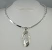 Contemporary Ring Collar Necklace with White Mabe Pearl Pendant Necklace