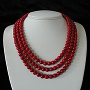 Red Sea Coral Three Strand Necklace