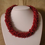Red Sea Coral Six Strand Torsade Necklace