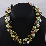 Lime, Forest Green & Golden Brown Freshwater Woven Pearl Necklace