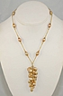 Gold Freshwater Pearls and Swarovski Crystal Y Drop Necklace