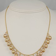 Sixteen Dangling Drop Golden Freshwater Pearl Necklace