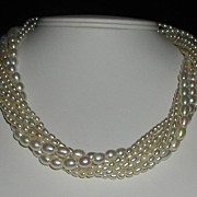 Eight Strand Freshwater White Pearl Necklace