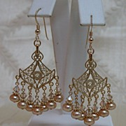 Golden Freshwater Pearl & Swarovski Crystal Earrings in Choice of Slipless Wires, Leverbacks o