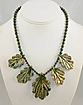 Green Raku Oak Leaf Necklace with Iridescent Round Bead Necklace