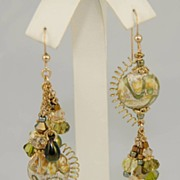 Green Lampwork, Pearl and Swarovski Crystal Asymmetrical Earring