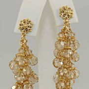 Sparkly and Flowing Golden Swarovski Crystal Earrings with Filigree Posts