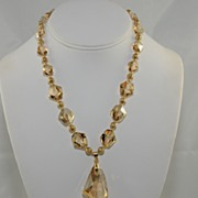 Golden Swarovski Crystal Necklace with Pendant