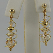 Golden Swarovski Crystal Spiral Earrings (Additional Choice of Colors)