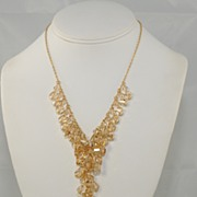 Golden Swarovski Crystal Y Drop Freeform Necklace