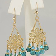 Teal Swarovski Crystal Chandelier Earring