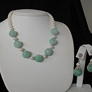 Carved Green Jade and White Akoya Pearl Necklace